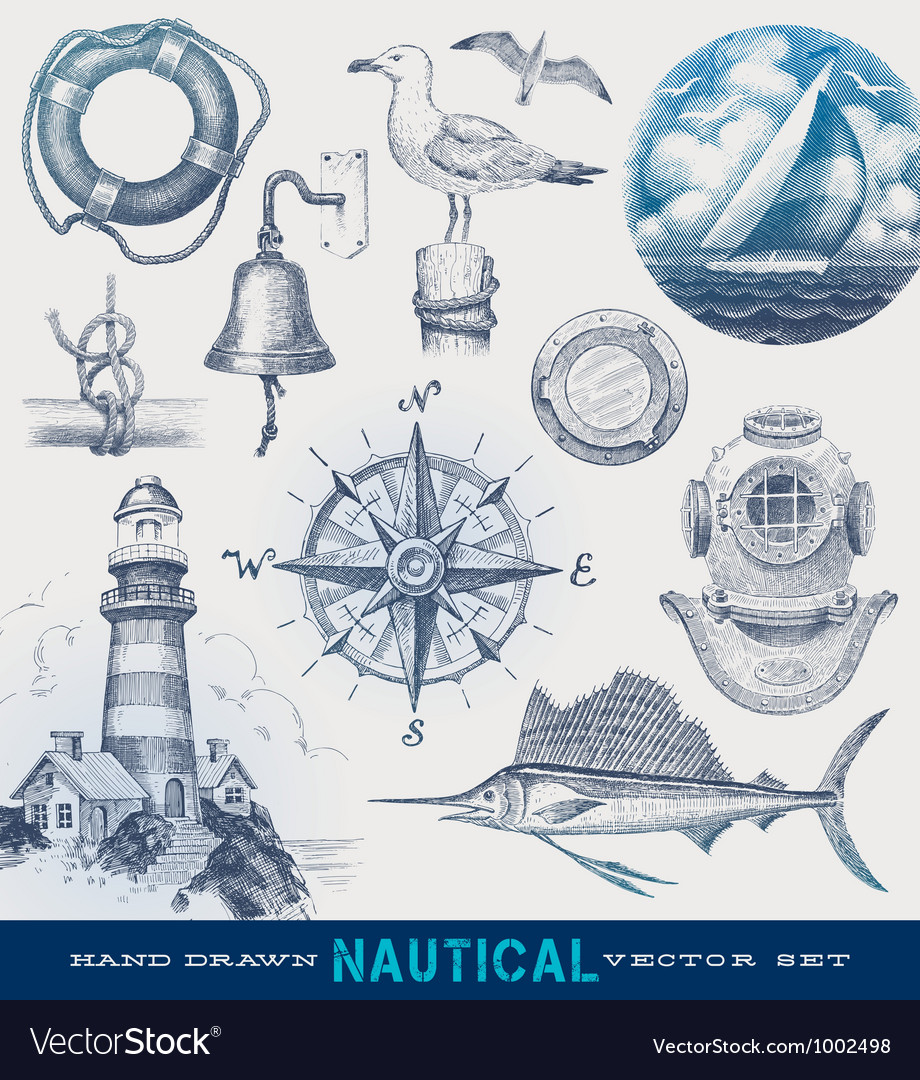 Nautical hand drawn set vector image