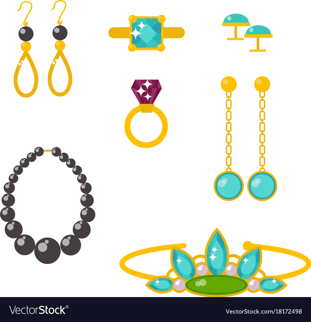 Jewelry items gold elegance gemstones Royalty Free Vector