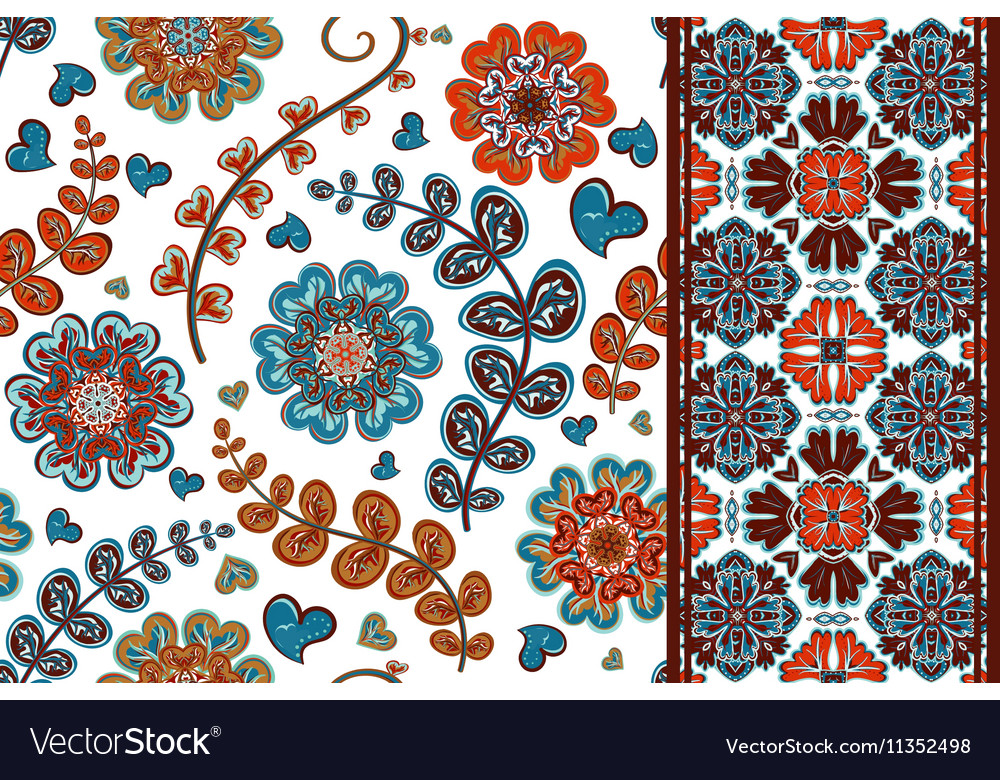 Set of flowers seamless pattern and border vector image