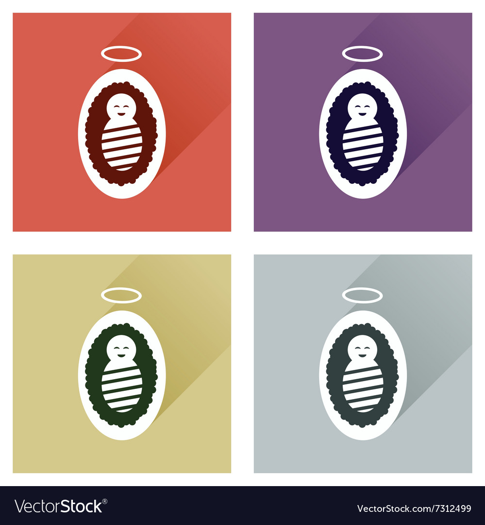 Concept of flat icons with long shadow Jesus