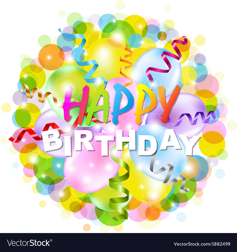 Happy Birthday Poster With Bokeh vector image