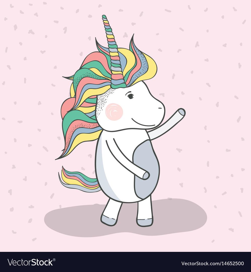 Beautiful unicorn dancing with mane long vector image