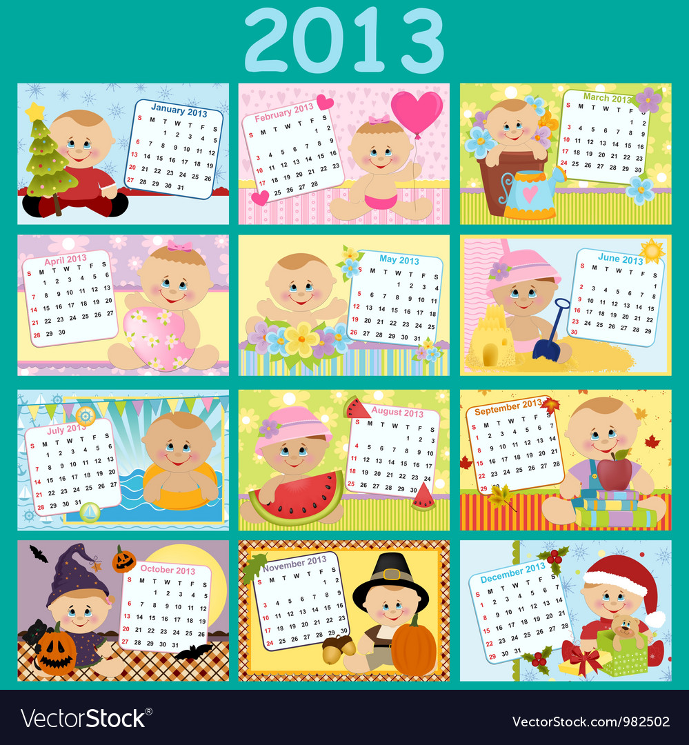 Free Vector Birthday on Babys Monthly Calendar For 2013 Vector 982502   By Embosser