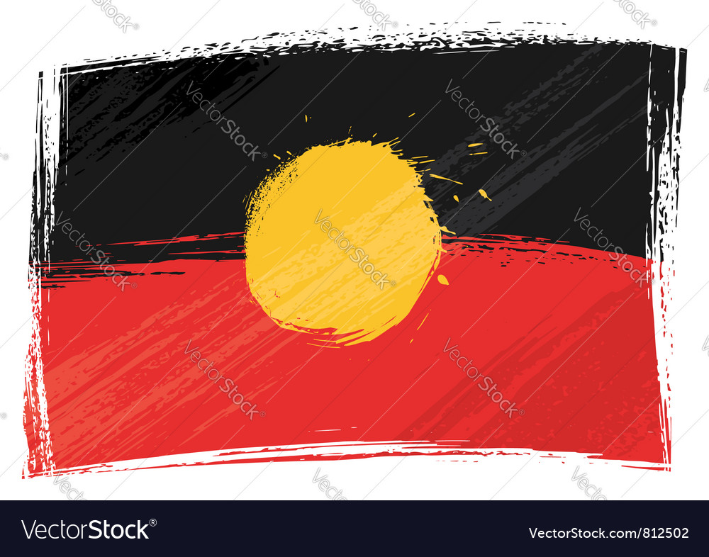 Grunge Aboriginal flag vector image