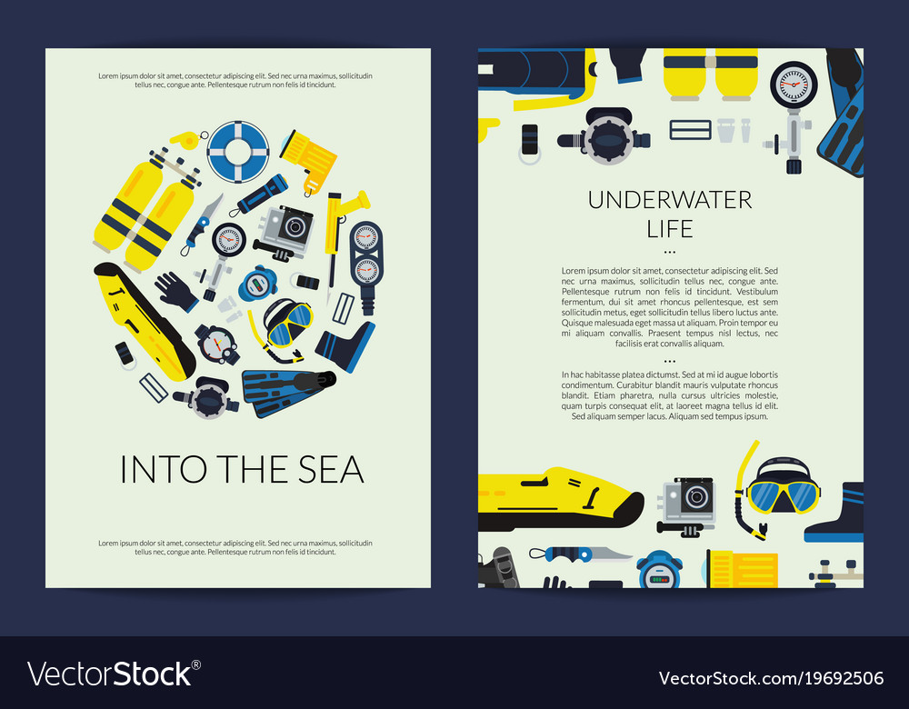 Card or brochure template for underwater vector image