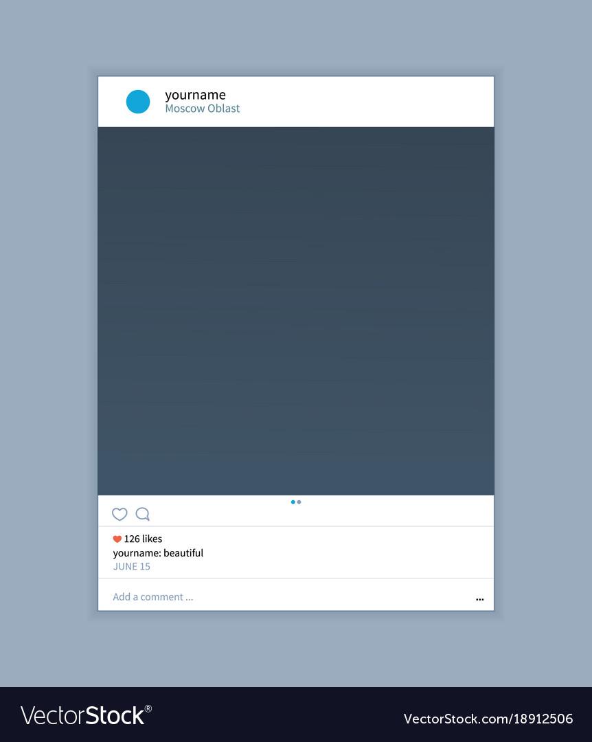 frame template for instagram applications vector image. Black Bedroom Furniture Sets. Home Design Ideas