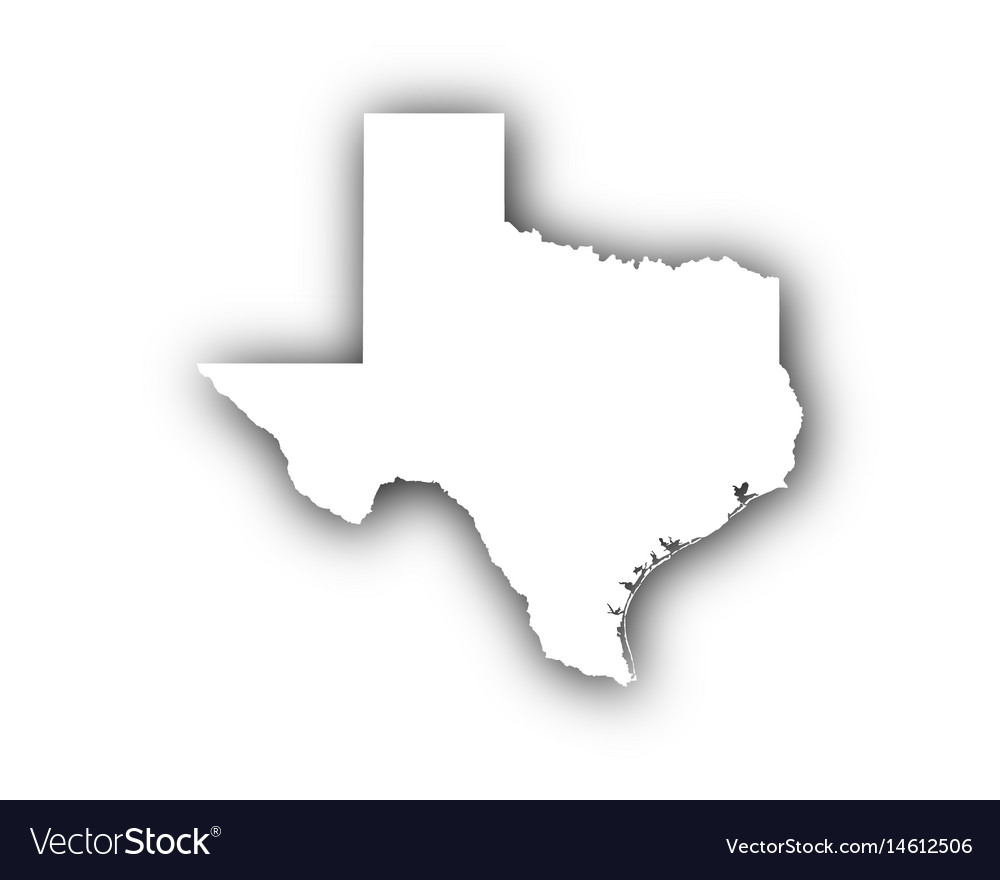 Map of texas with shadow vector image