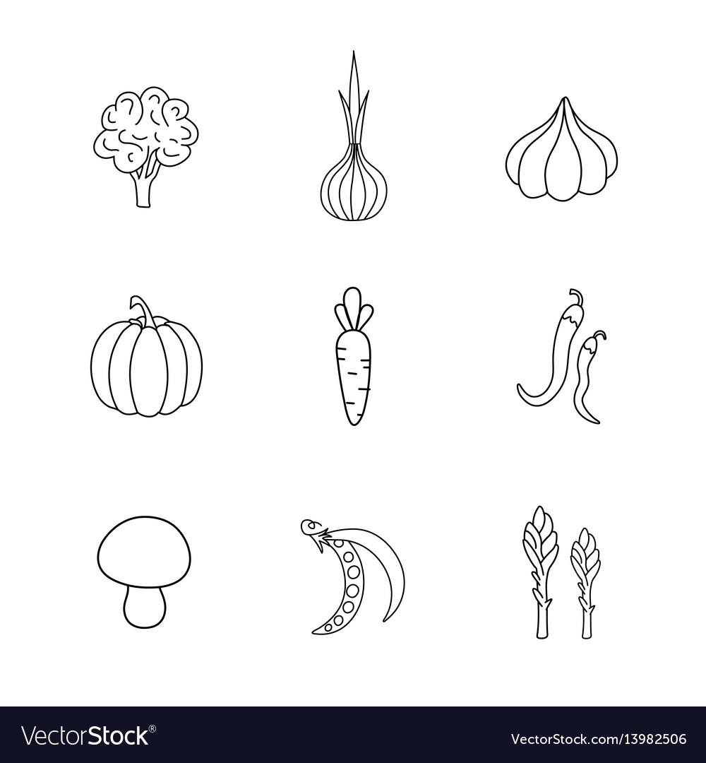 Set hand drawn vegetables handdrawn elements for vector image