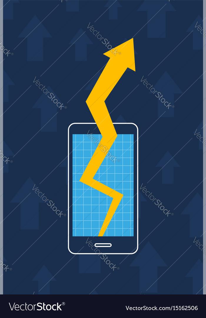 Smartphone graph arrow increase business marketing vector image