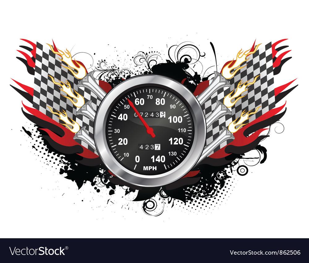 Speedometer emblem vector image
