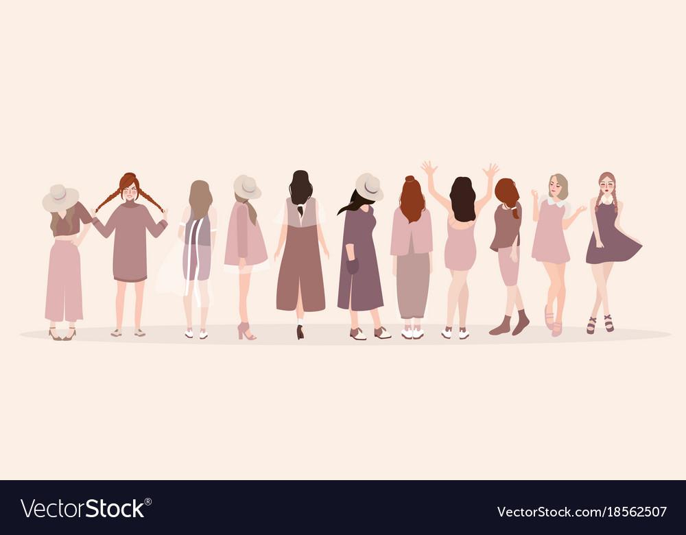 Beautiful young women in fashion clothing fashion vector image