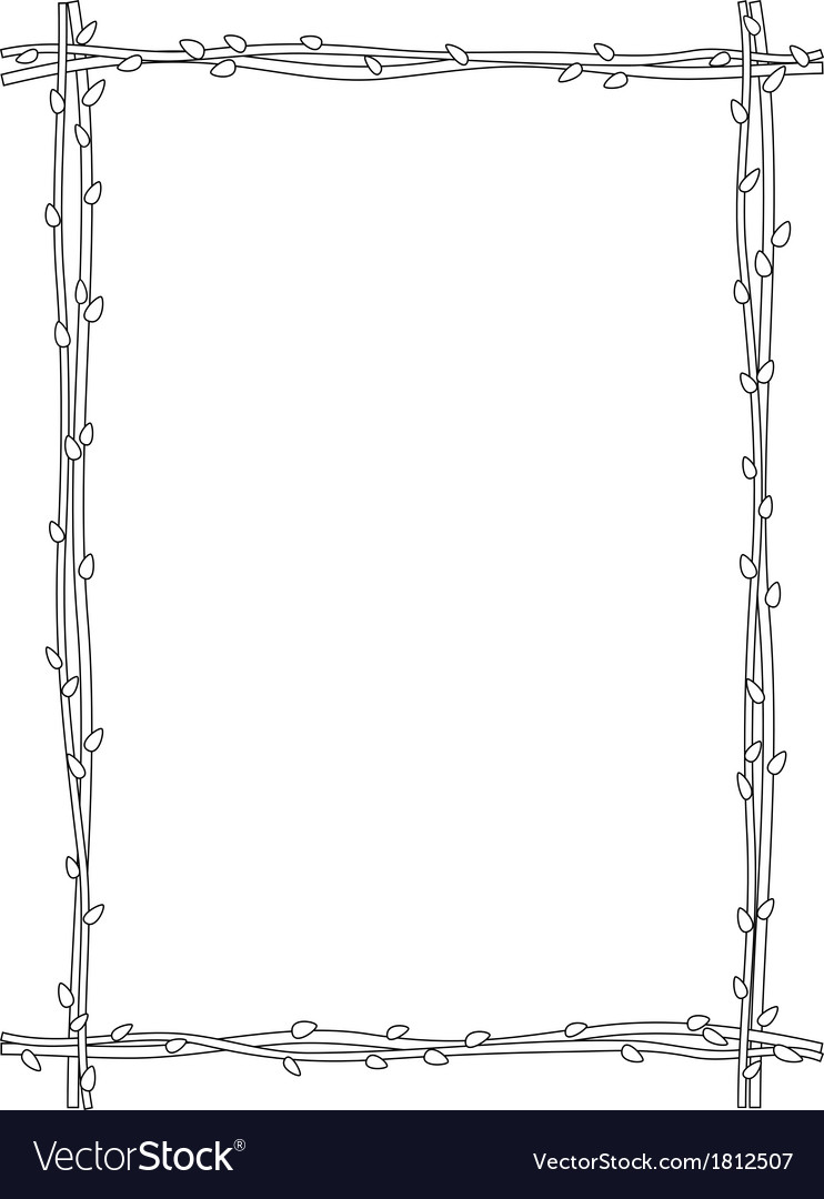 Twig sprig frame black white isolated vector image