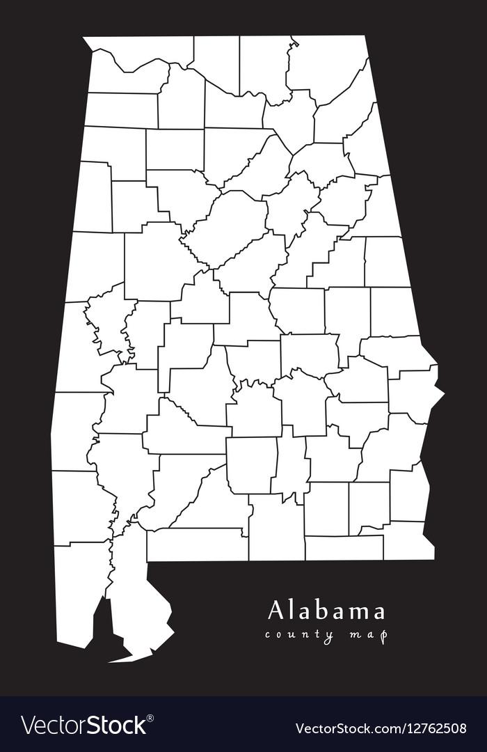 Alabama county map black Royalty Free Vector Image