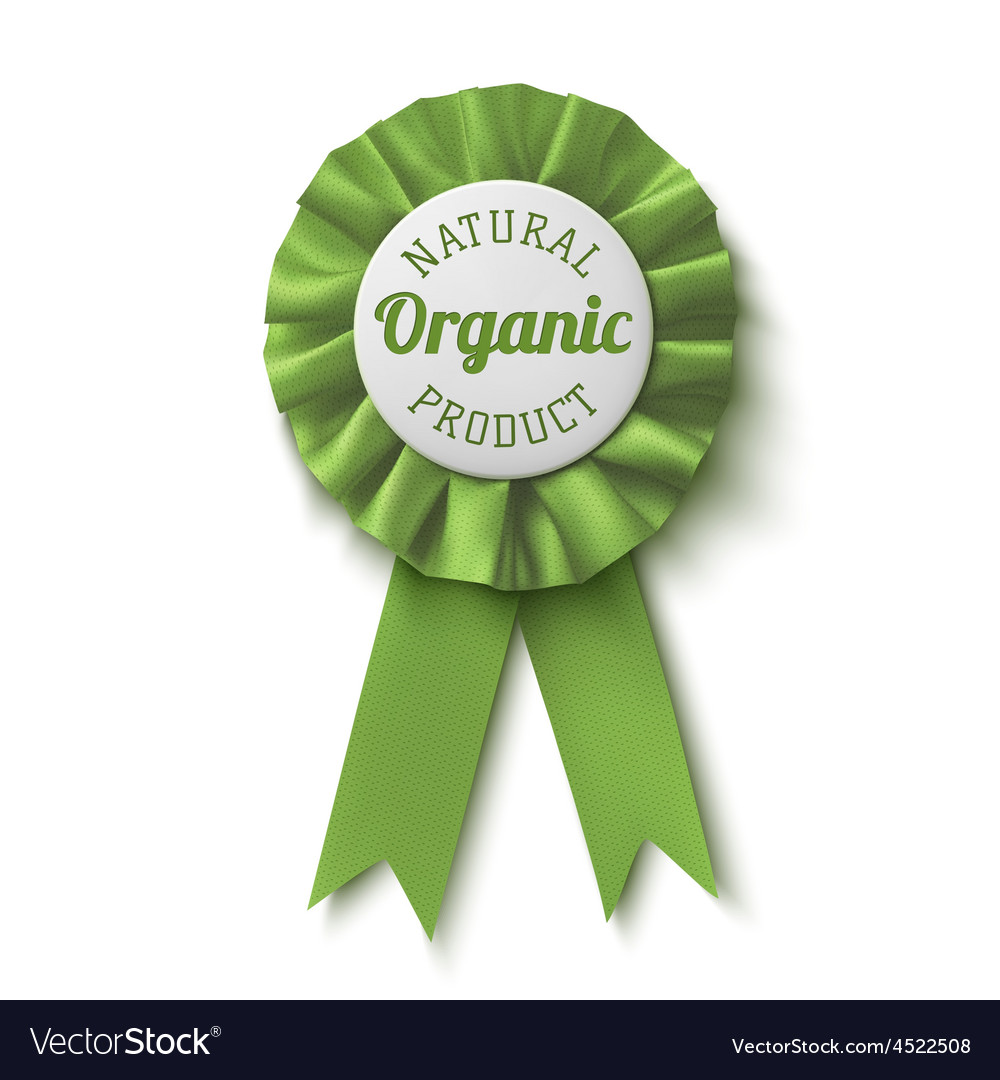 Natural organic product Realisticgreen label vector image