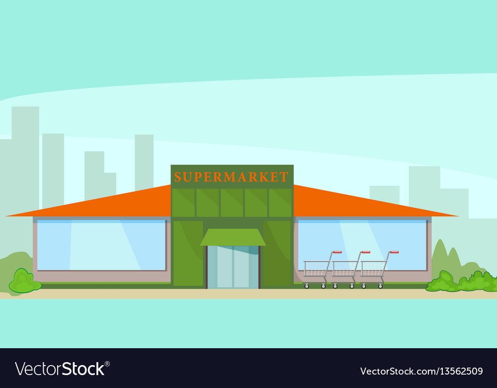 Building a supermarket on the background of the vector image