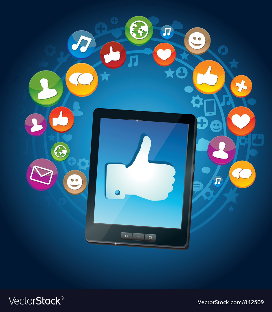 Concept - tablet pc and socail media icons vector image