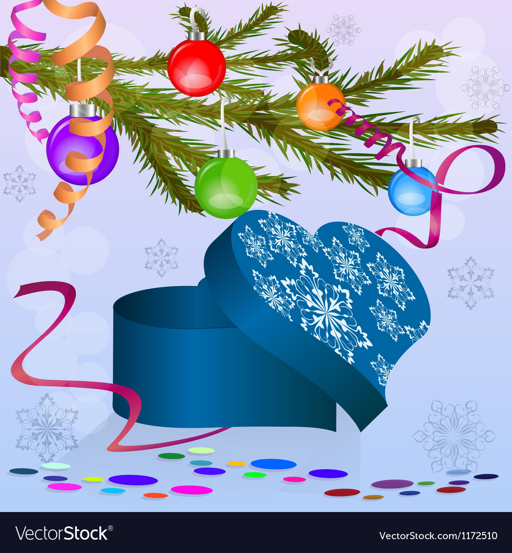 Heart shaped box under Christmas tree branch Vector Image