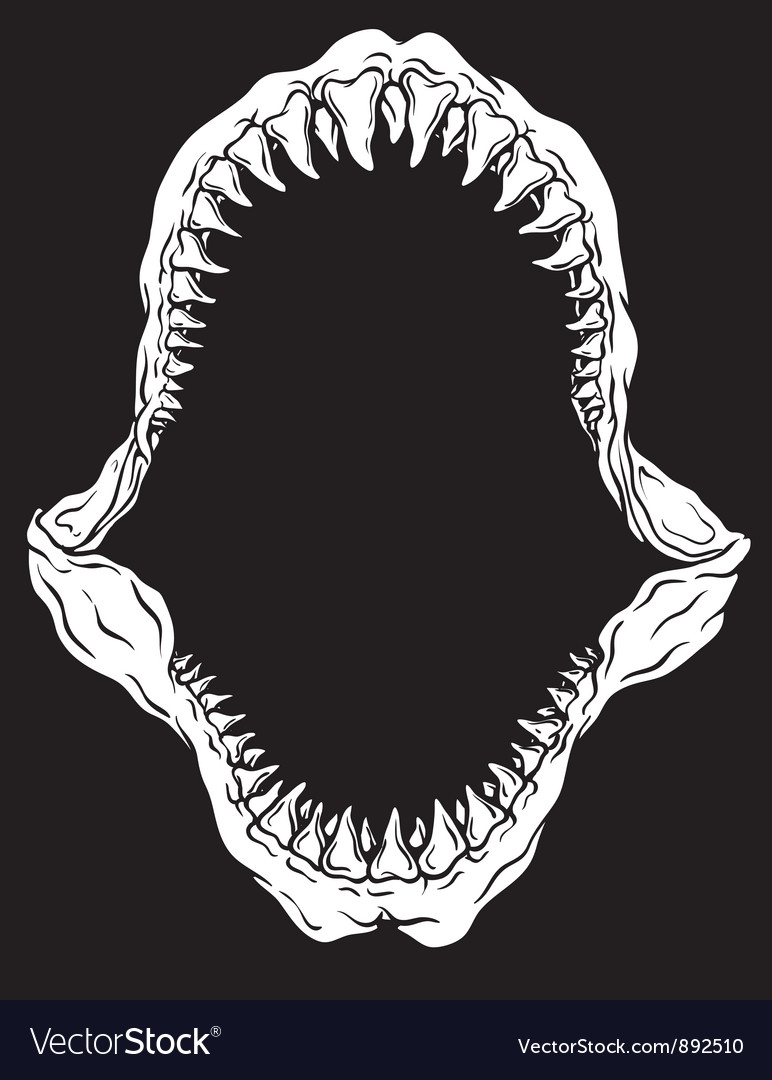 shark jaw isolated royalty free vector image vectorstock