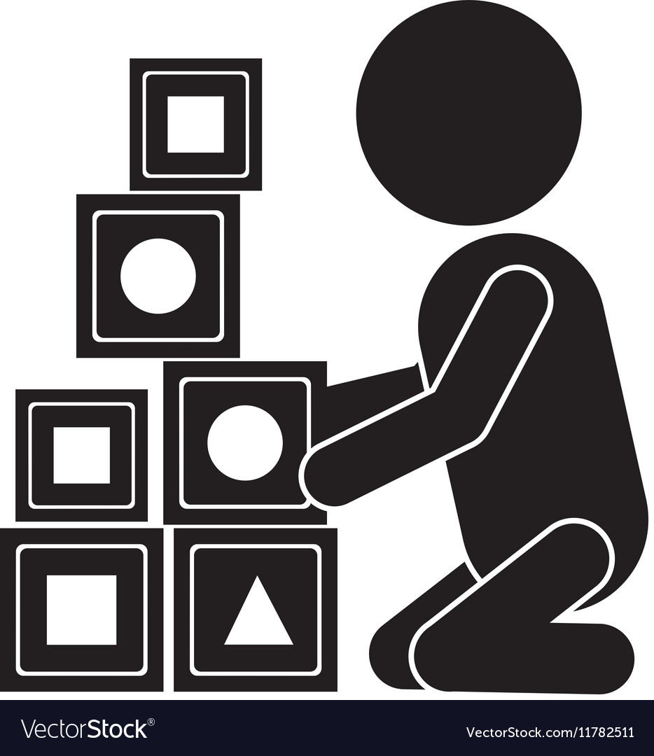 Pictogram little boy playing with cubes vector image
