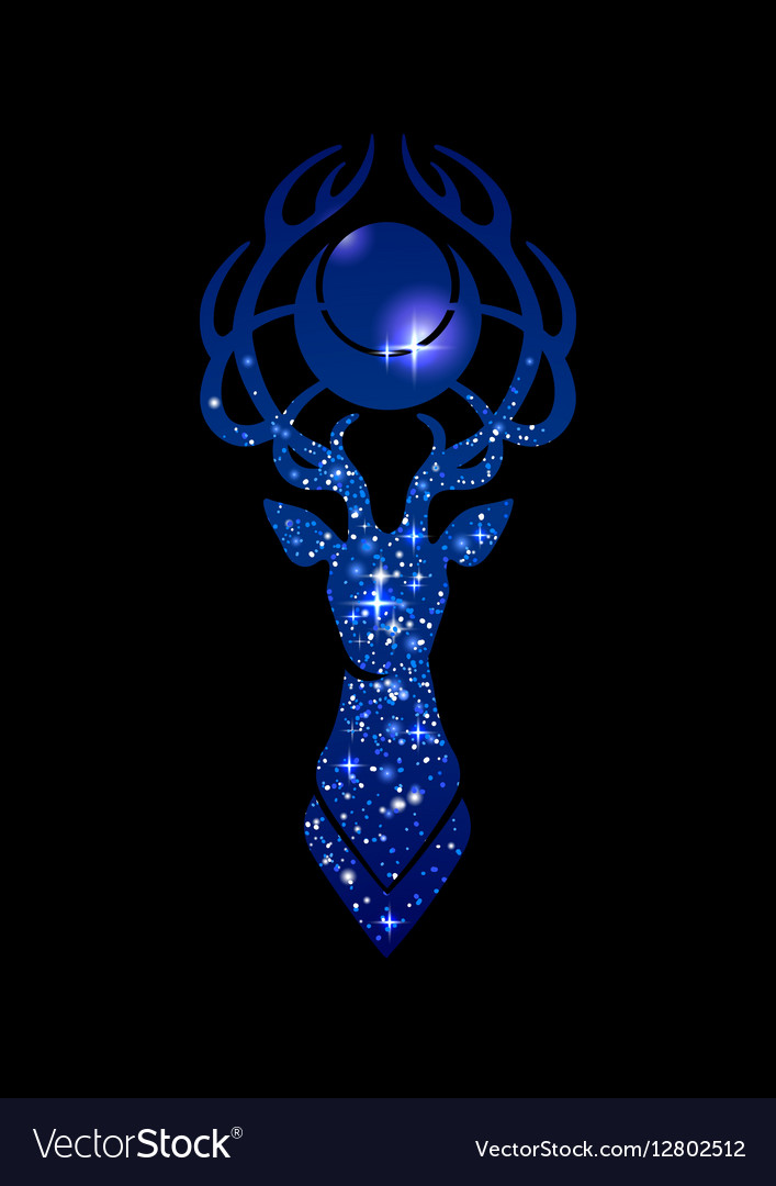 Deer silhouette and moon vector image