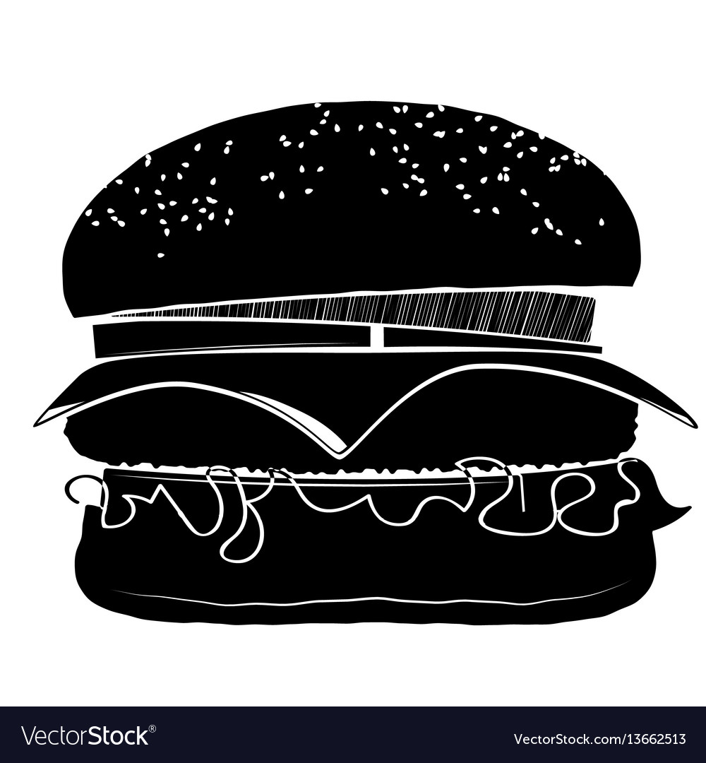 Hamburger with a chop cheese onions and tomatoes vector image