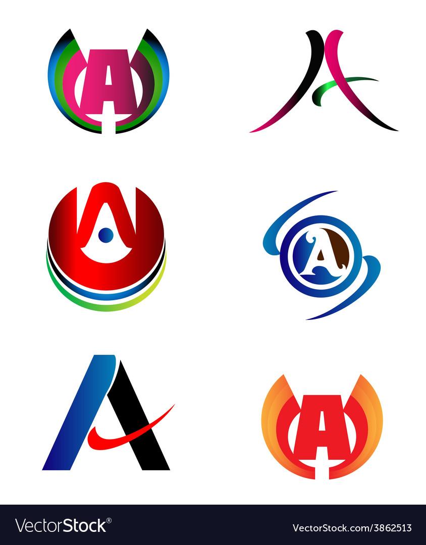 Letter a logo design sample icon set royalty free vector for Design logo gratis