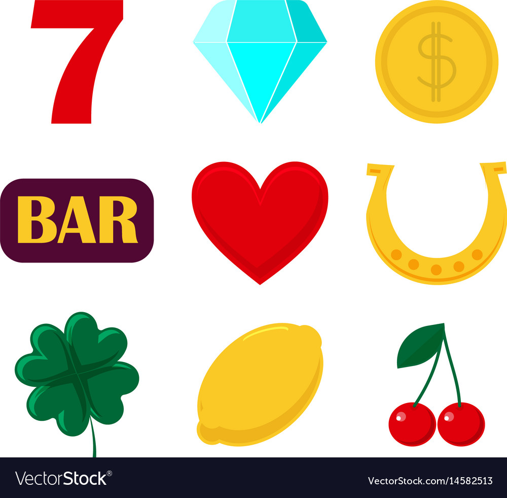 Set of icon slot machine sign casino and gambing vector image