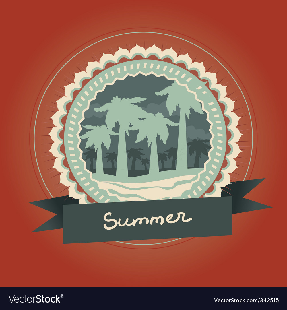 Abstract logo - retro label with palm trees - vector image