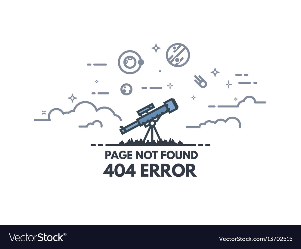 Telescope searching 404 banner vector image
