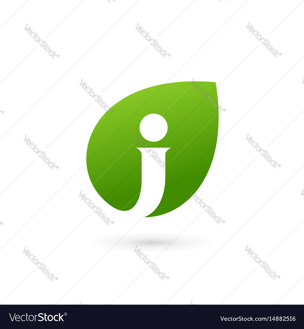 Letter j eco leaves logo icon design template vector image