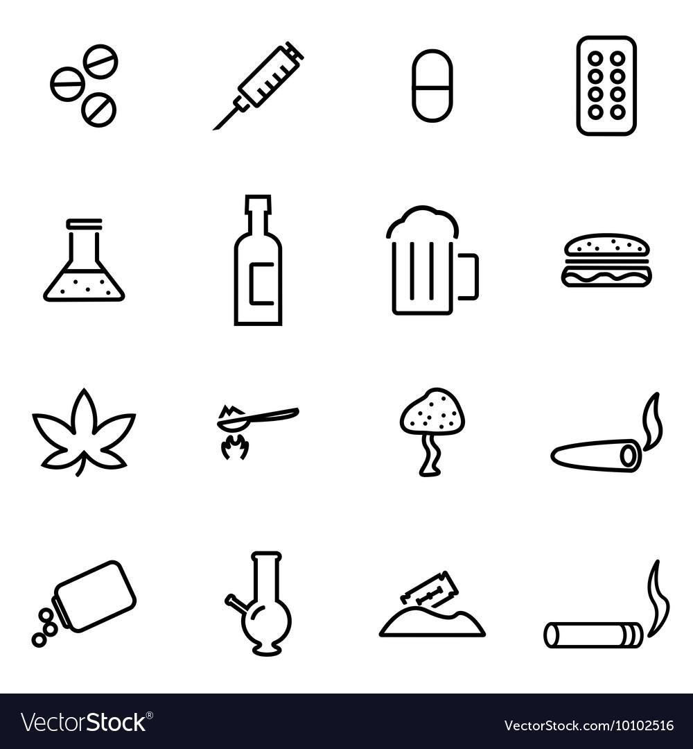 Line drugs icon set vector image