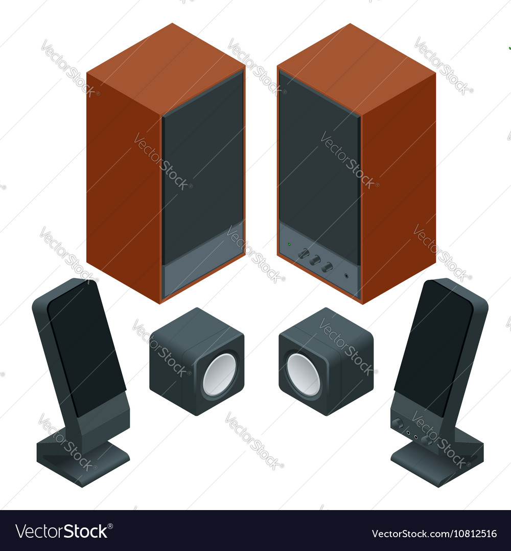 Music speakers isolated on white background and vector image