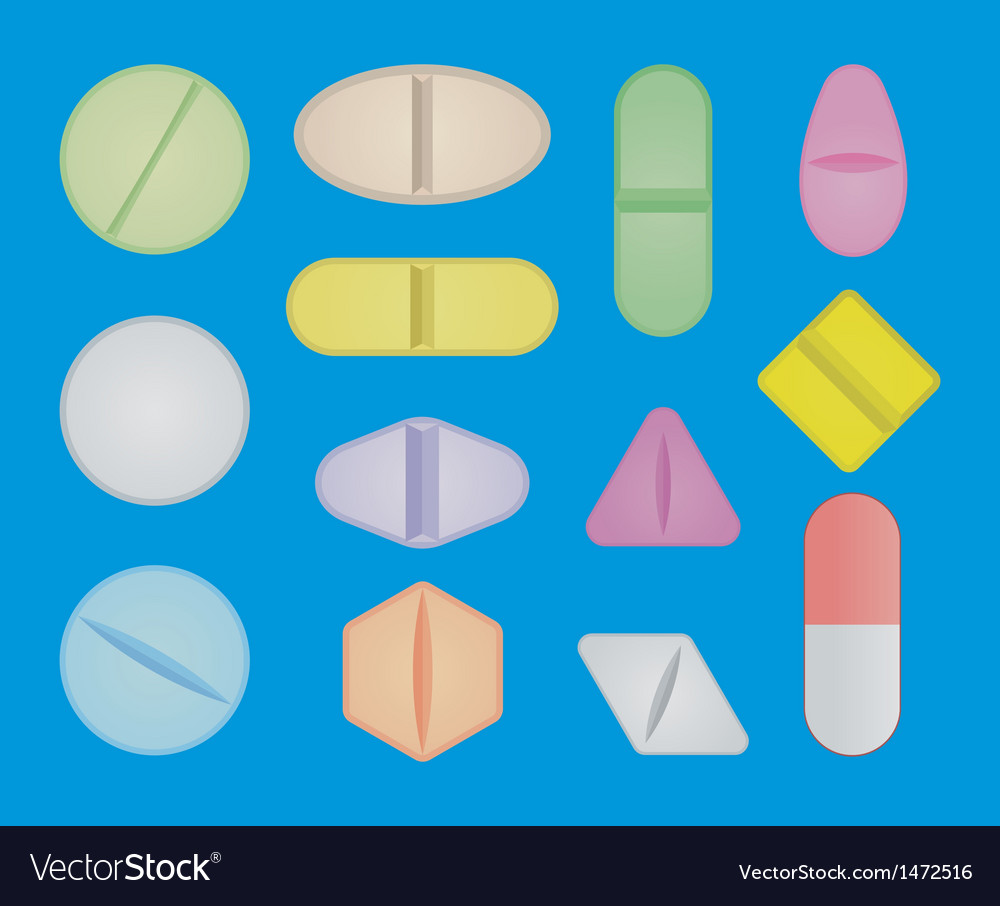 Set of pills vector image