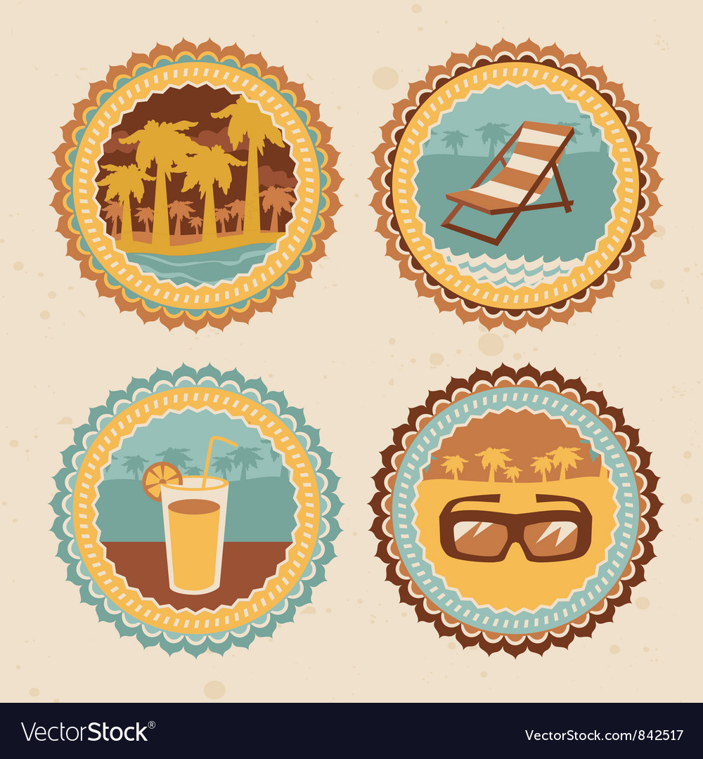 Abstract logo - retro labels with summer icons - vector image