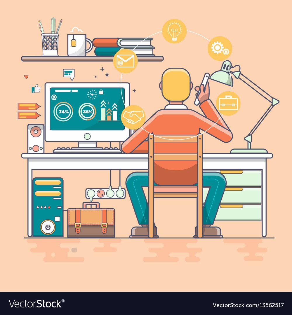 Business man working online vector image