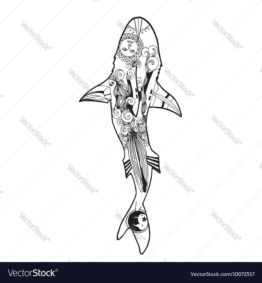 Zentangle Shark Coloring Book Vector Image