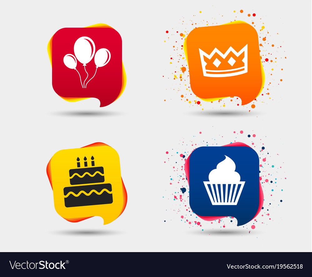 Birthday party icons cake and cupcake symbol vector image birthday party icons cake and cupcake symbol vector image biocorpaavc