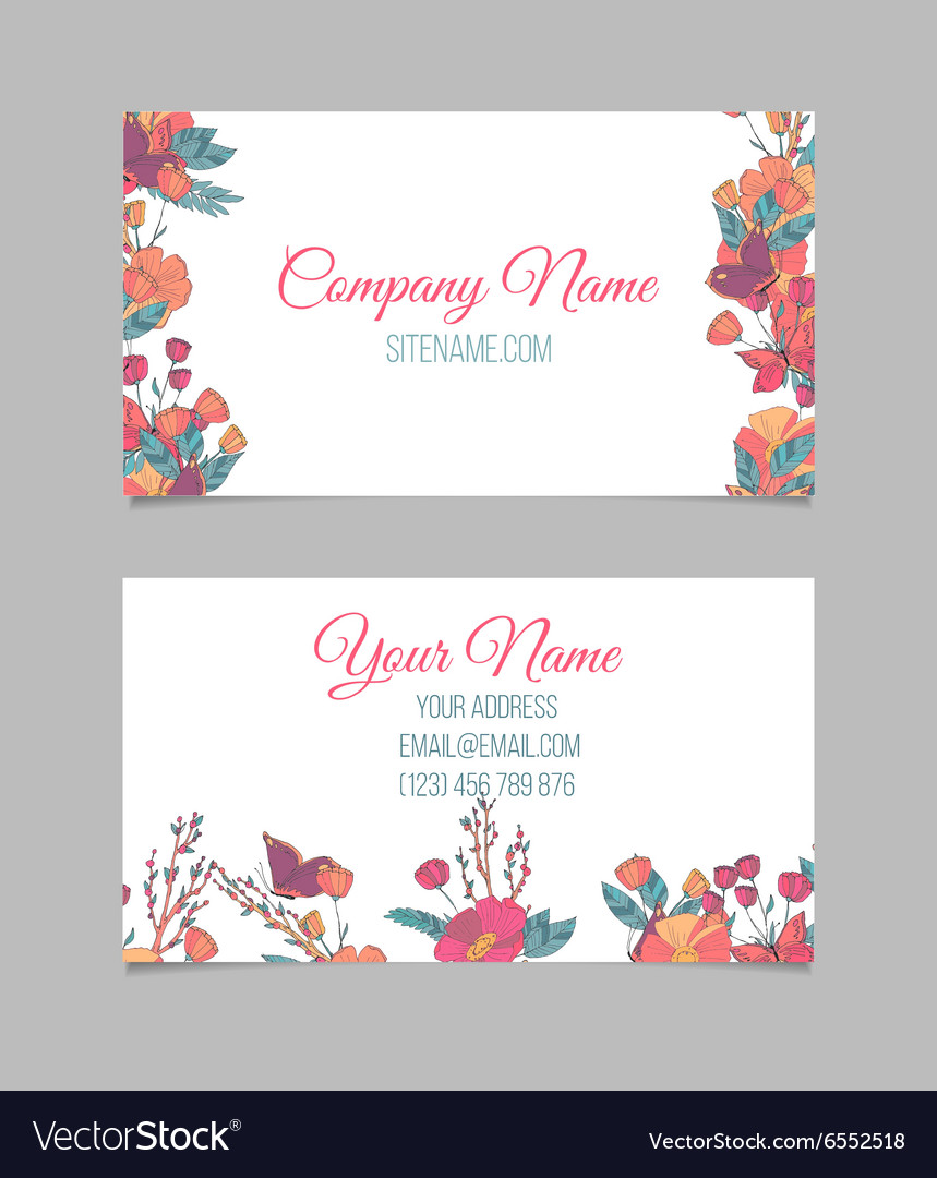 Floral business card Royalty Free Vector Image