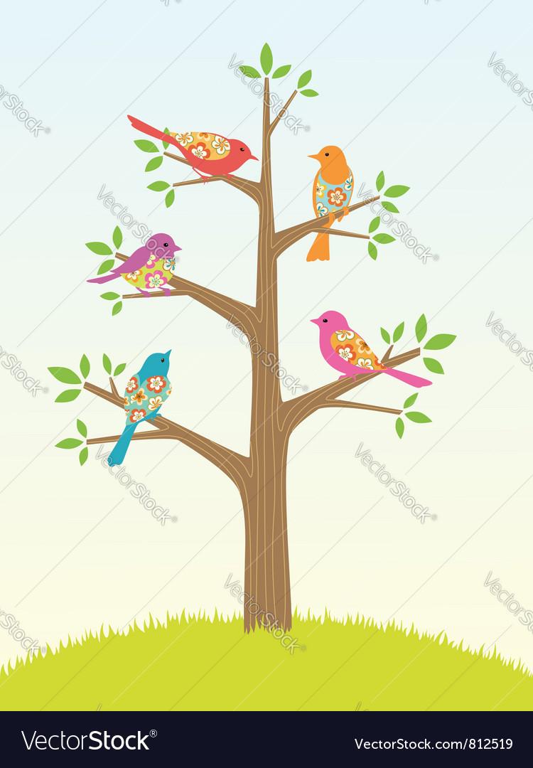Bird tree vector image