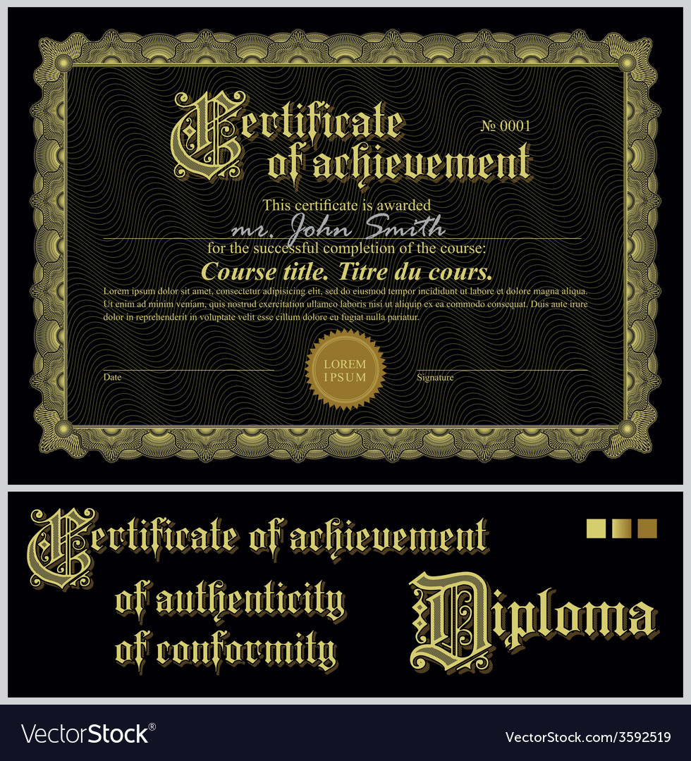 Black and gold certificate template horizontal vector image black and gold certificate template horizontal vector image yelopaper Gallery