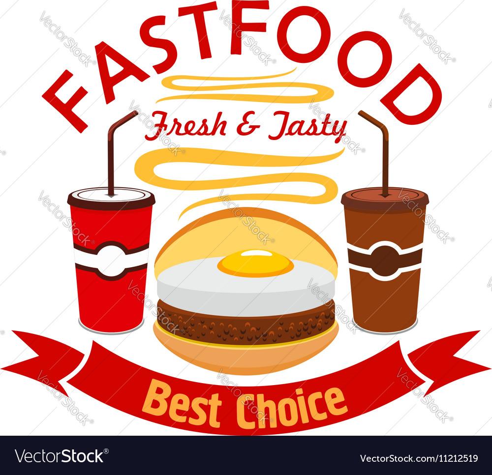 Hamburger fast food with fried egg emblem vector image