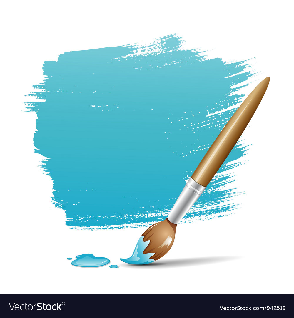 Paint brush blue background vector image