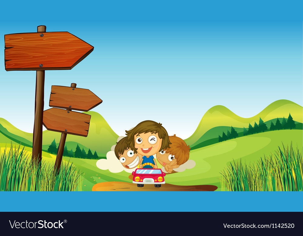 Two boys with a one young girl riding vector image