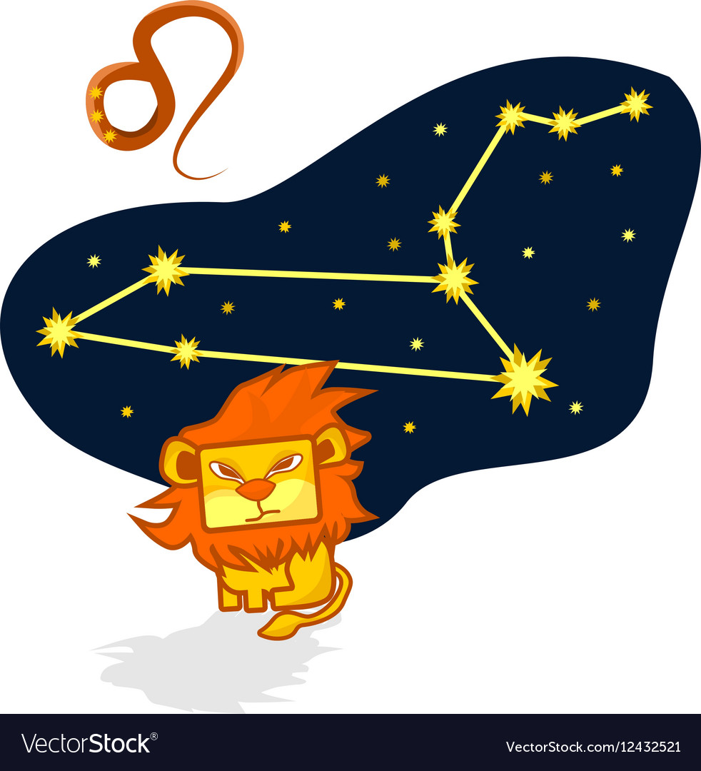 Cartoon Zodiac Leo with a rectangular face vector image