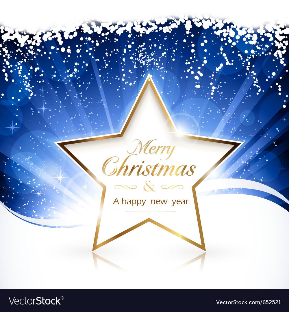 Golden christmas star background vector image