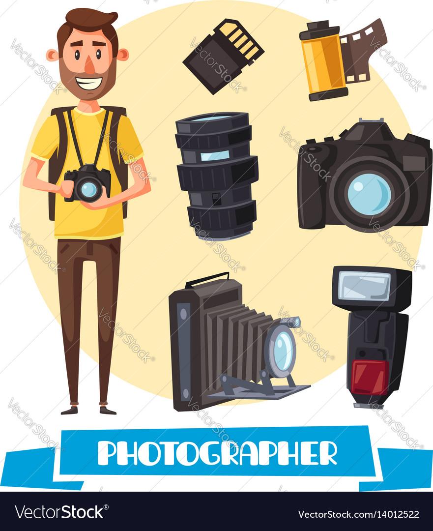 Photographer with digital camera cartoon icon vector image