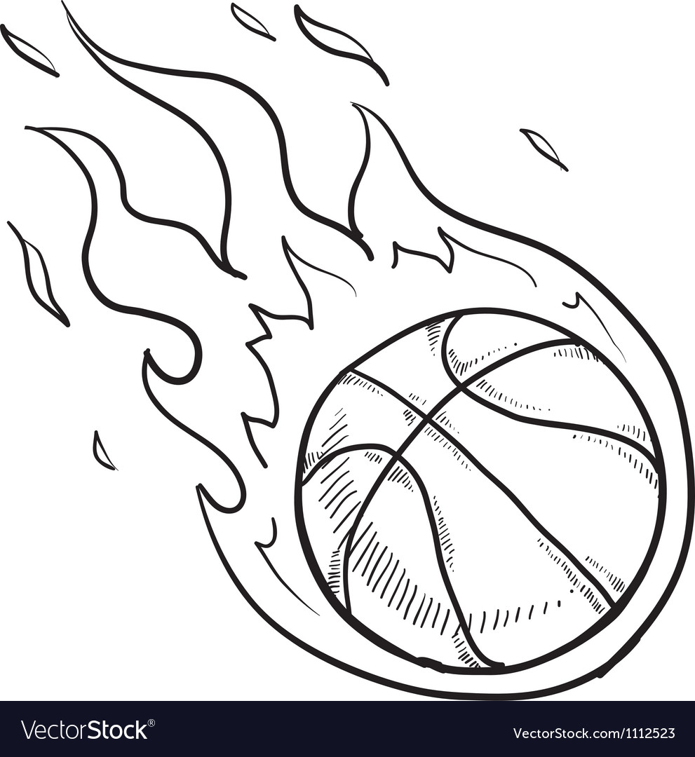 Doodle basketball fire vector image