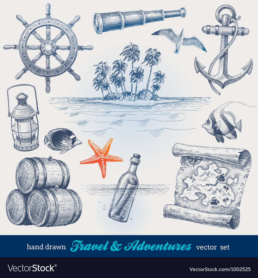 Travel and adventures hand drawn set vector image