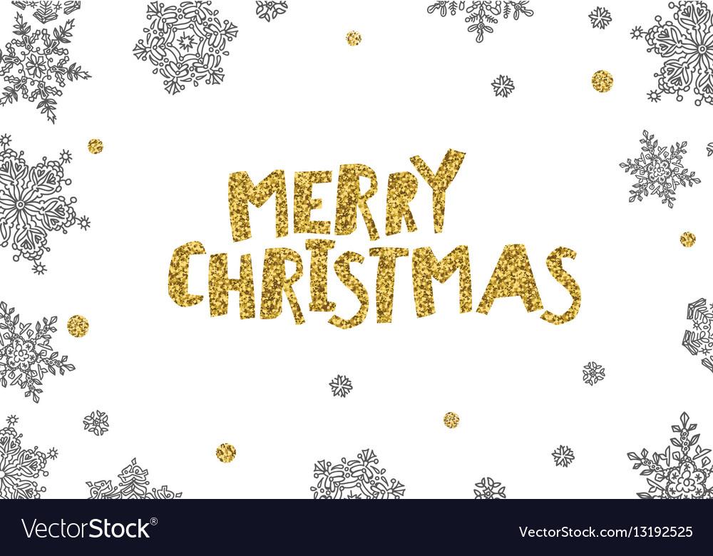 Merry Christmas Golden Greeting On White Christmas vector image