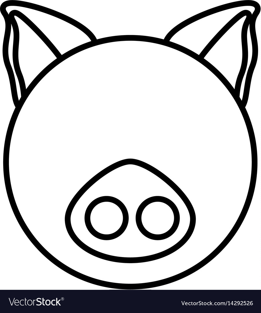 Outline pig head animal vector image